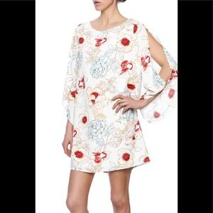 Aakaa Cold Shoulder Floral Shift Dress S